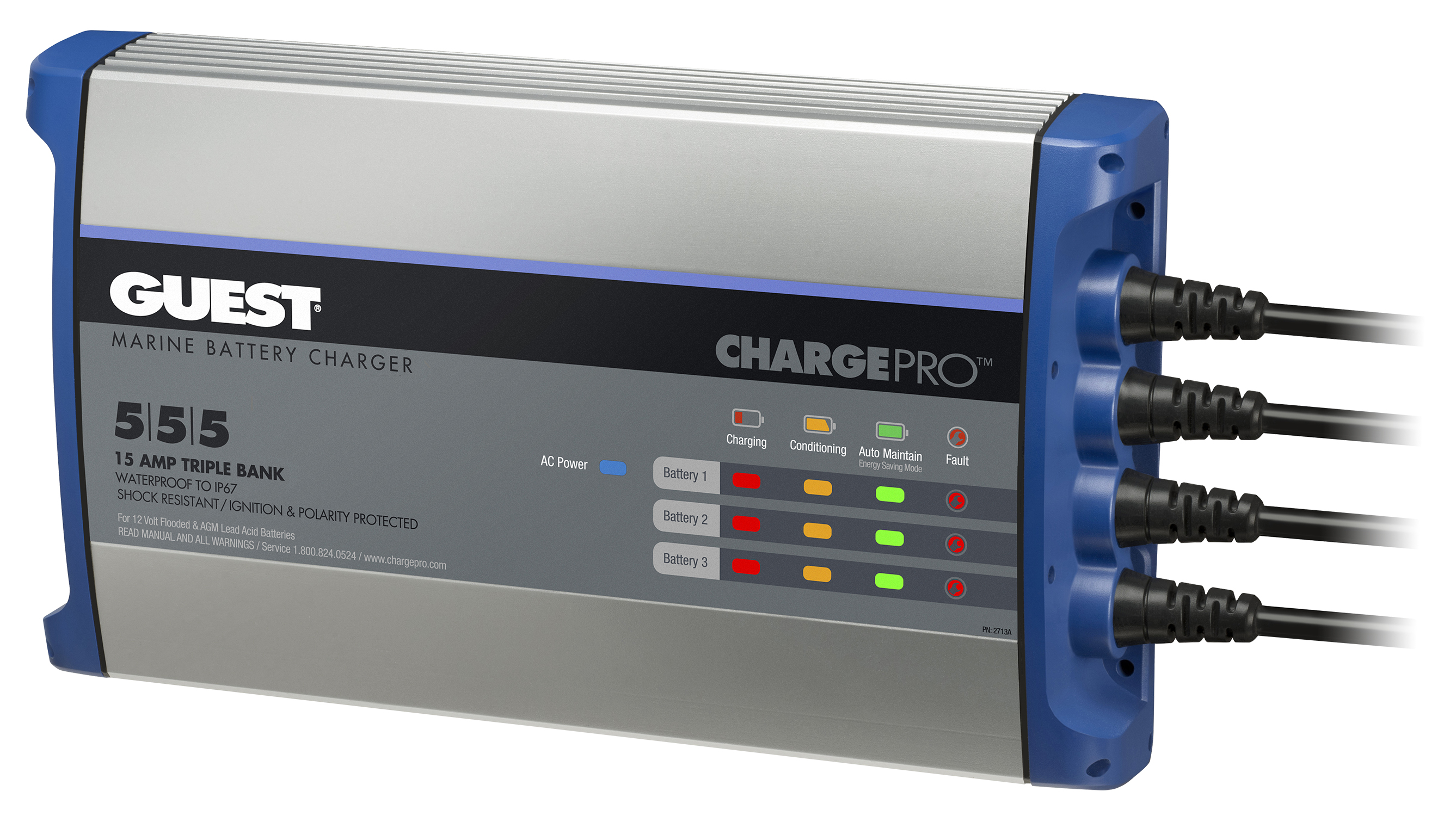 Guest 2731A ChargePro On-Board Battery Charger 30A 12V 3 Bank 120V ...